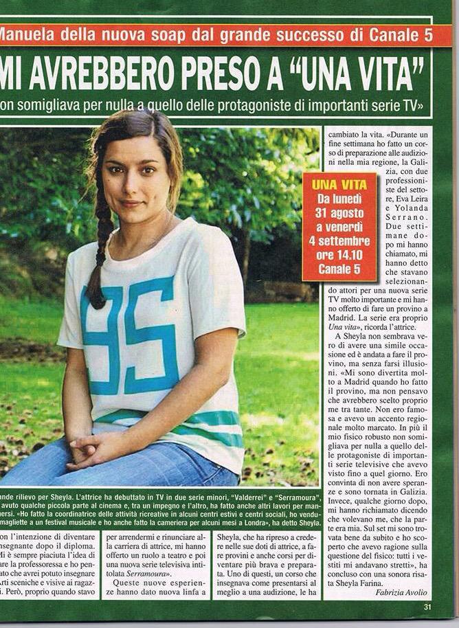 """Sheyla Fariña prensa """"Una Vita"""" Italia"""