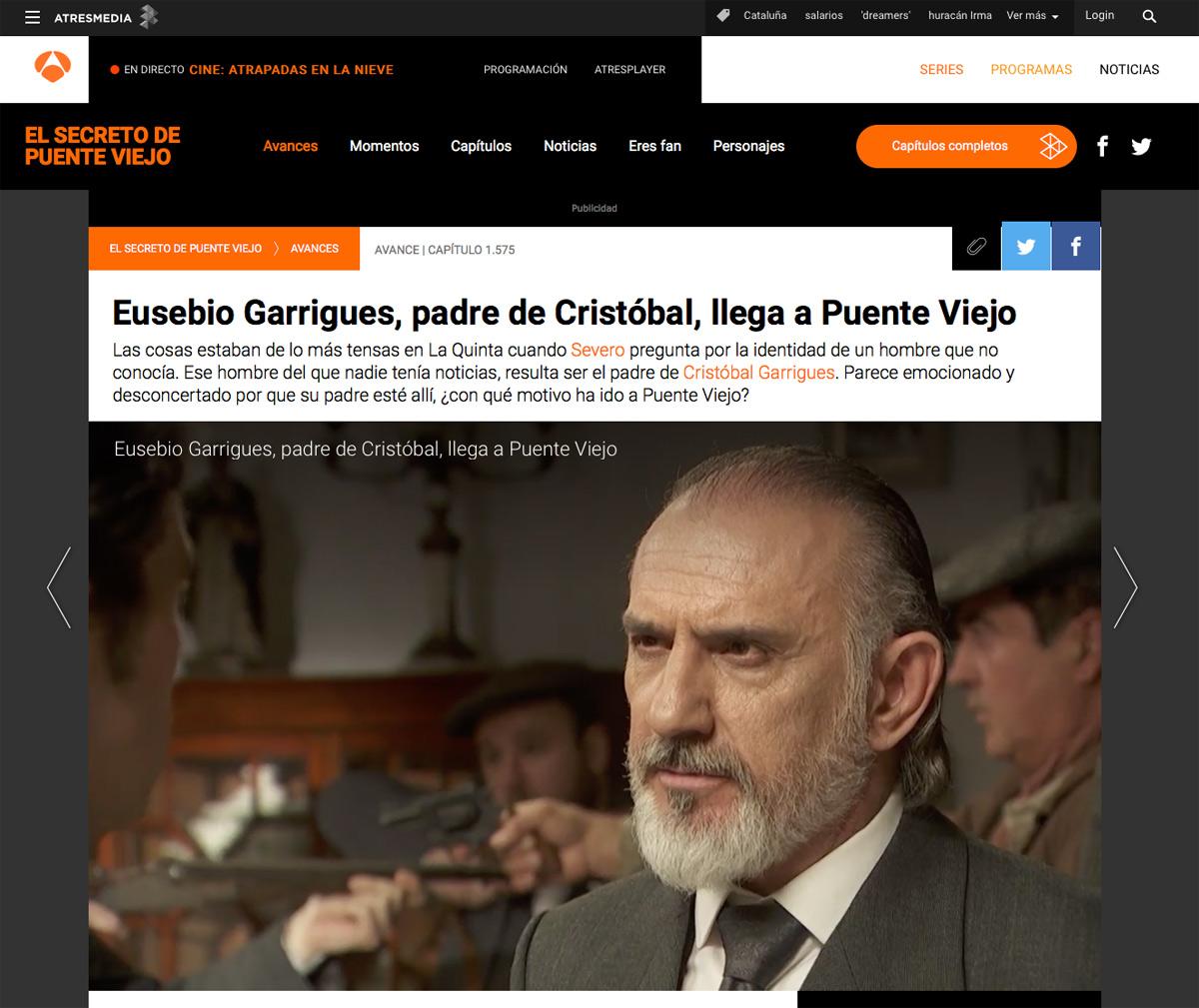 """Julio Vélez prensa """"El secreto de Puente Viejo"""""""