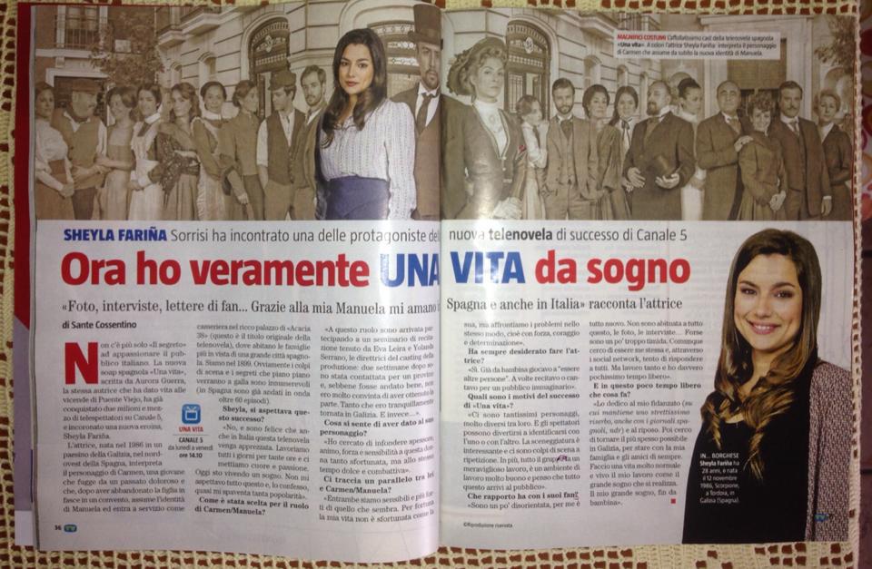 Sheyla Fariña prensa «Una Vita» Italia